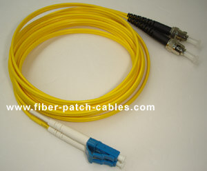 ST to LC single mode duplex fiber optic patch cable