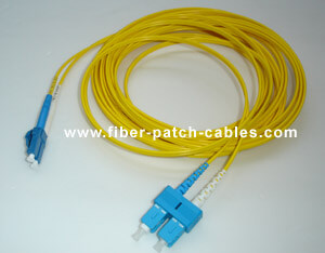 LC to SC single mode duplex fiber optic patch cable